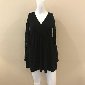 ASOS Babydoll Mini Dress Lace Sleeves Size 4